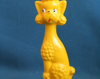vintage Ceramic poodle yellow dog japan 1970's 1960's figurine statue