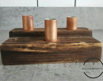 Triple charred wood candle holder / copper pipe / reclaimed wood / charring / home decor / gift / house warming / locally sourced