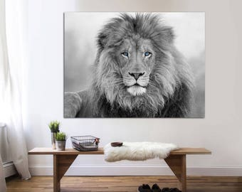 African Lion,  black and white lion print, Canvas Print.  Lion wall art, black and white wall art, Wall art, Lion canvas print, large canvas