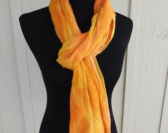 Marigold and yellow nuno felted scarf