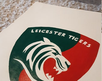 Handmade scrabble tile leicester tigers picture