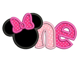 Girl's 1st Birthday Minnie Applique Embroidery Design, Cute Mouse Ears, First Birthday Embroidery, Instant Download, 3 Sizes, No: FA510-13