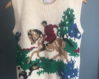 Vintage, 1980s, Skry Wool Vest, Equestrian, Small