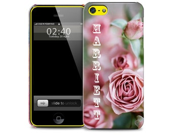 Personalised Name or Initial Floral Pink Rose Flower - Protective Glossy Phone Cover Case iPhone iP Samsung Galaxy GS - Mobile
