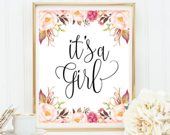 It's A Girl Sign, Baby Shower Decorations, Baby Girl Baby Shower Sign, Blush Pink Gold Glitter Printable 8x10 Its A Girl Party Sign