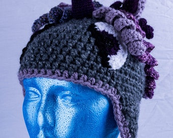 Purple and grey unicorn hat