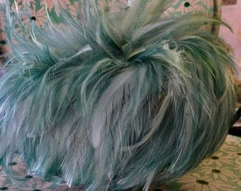 Vintage Green Feather Hat Big Bird
