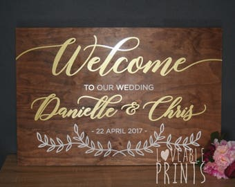 Wedding Welcome Sign | Gold Wedding Sign | Wood Signs | Wedding Signage | Custom Timber Sign |