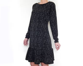 SALE 50% OFF Wool jersey dress, ruffle dress, party dress, long sleeve dress, women dress, midi dress