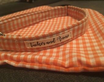 Custom Handmade Dog Collar and Matching Bandana in 'Orange & White'