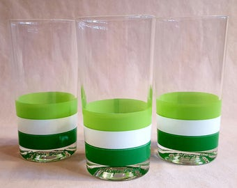 RESERVED FOR DIANA Vintage Georges Briard Green Stripe Tumblers, Set of 3