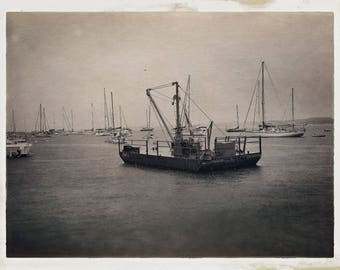Vintage Boats floating in the ocean