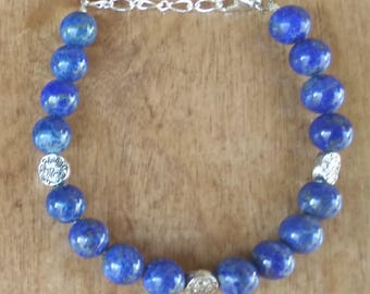 Bracelet with 8mm Lapis and silver spacers
