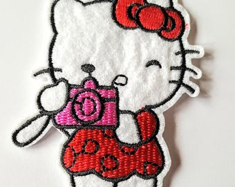 Embroidered Patches ,Hello Kitty, Camera, Iron On Applique, Sew On Patch, Hello Kitty