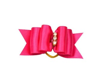 Dog Bow In Hot Pink Satin Ribbon And Rhinestones Puppy Dog Bow Pet Bow Sparkle Bow