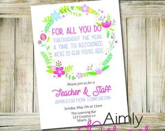 Teacher Appreciation Card or Luncheon Invitation