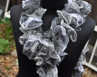 Hues of Gray Ruffle scarf crocheted by hand and made with love