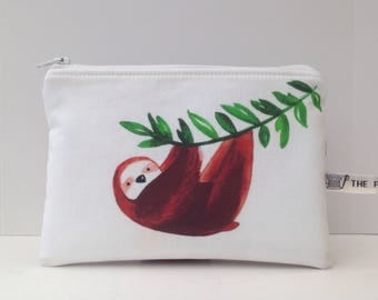 Sloth fabric; Small make up bag; zippered pouch; storage pouch; phone pouch.