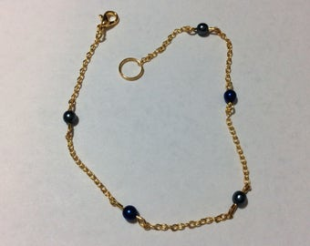 """Bracelet for woman """"Pearly round Pearl and his gold chain"""""""