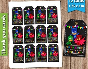 Pj Masks Thank You Cards / Pj Masks Favour Tags / Pj Masks Thank You Card / Pj Masks Thank You Tags / Pj Masks Favor / Pj Masks Invitation