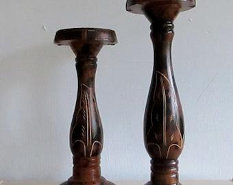 Wood Candle Pillars, Pillar Candle Holder Set, Pillar Candle Holder, Wood Candle Holders, Wood Candle Stick Holders, Wood Pillar Candle