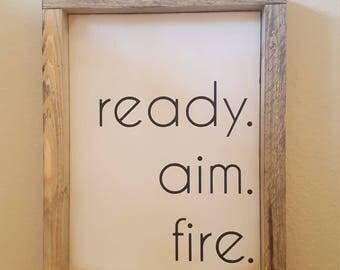 ready. aim. fire. | Farmhouse Sign | Farmhouse Decor | Rustic Decor | Rustic Sign | Rustic | Wood Sign | Framed Sign | Farm style | Bathroom