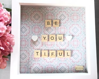 Be-you-tiful quote handmade scrabble frame and wallart. Personalised and customisable. Gift for her, gift for couples, birthday, present