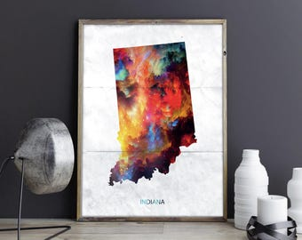 Indiana Art Indiana Wall Art Indiana Decor Indiana Photo Indiana Print Indiana Poster Indiana State Map United States Map Watercolor Map