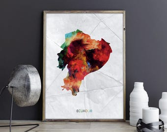 Ecuador Art Ecuador Wall Art Ecuador Wall Decor Ecuador Photo Ecuador Print Ecuador Poster Ecuador Map Country Map Watercolor Map