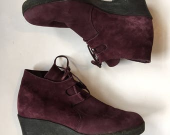 Vintage Arche Purple Nubuck Leather Lace Up Shoes size EU 40 US 9.5 Granny Booties Platform Hipster Chukka ankle Boot