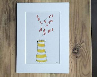 "Pen and ink original card-mounted art. ""Catkins"""