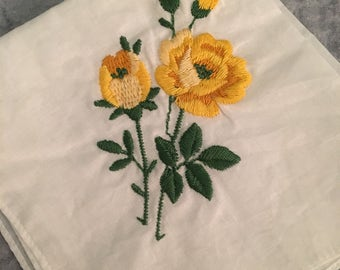Yellow Rose Vintage Handkerchief