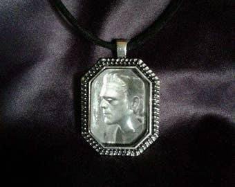 Frankenstein domed glass pendant necklace