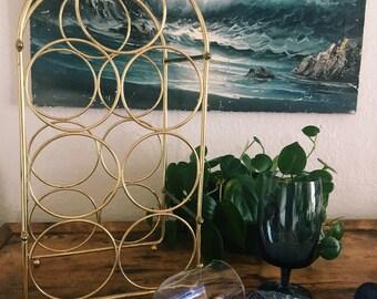 Vintage Gold Wire Wine Rack