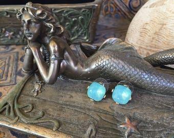 Bright Blue Crystal Stud Earrings