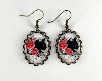 Earrings oval black and pink cat