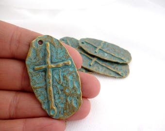 Solid Bronze Aged Patina Charm Pendant /Charms/Patina/ Cross of 48x27 mm pack 4 pcs