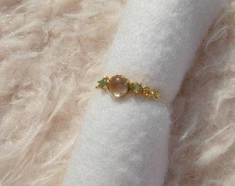 Rose Ring rose quartz emerald K18