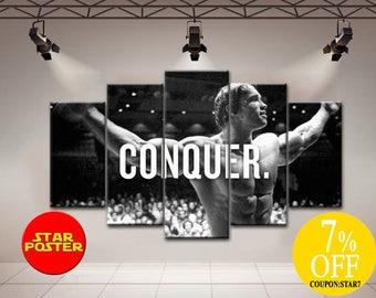 Conquer art, Conquer wall art, Conquer canvas, Conquer print,  Iron Arni canvas,  Iron Arni print, Conquer poster, Arnold canvas, Conquer