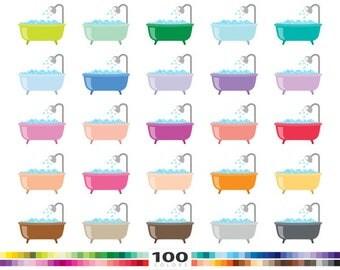 Bathtubs clipart 100 rainbow colors bath tub shower bubbles vector eps png illustration planner stickers clip art set