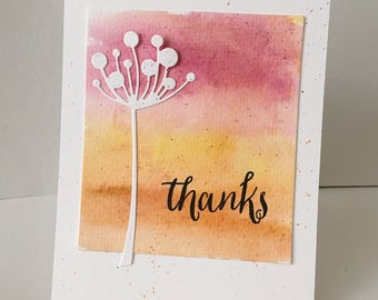 Watercolor background thank you card