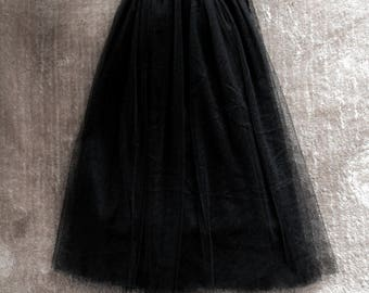 Skirt/shirt in black tulle Vintage 1980/1990 woman