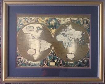 Vintage gold world map etsy world map on gold foil in color gumiabroncs Images