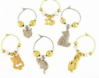 Cats Drink Charms, Wine Glass Charms