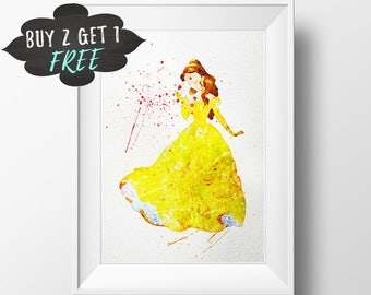 Disney Princess Art Print Poster, Belle Wall Art Nursery Decor Printable Watercolor Beauty And The Beast Instant Download, Kids Gift Decor