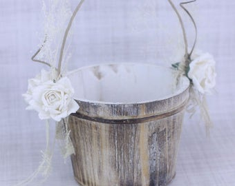 Rustic Flower Girl Basket Paper Roses and Burlap Country Wedding (Item Number 130084)