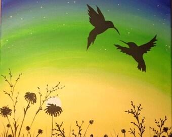 Hummingbirds at Dusk