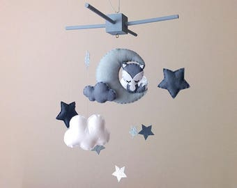Fox Nursery Decor . Fox Baby Mobile . Grey Nursery Decor . Moon And Stars . Monochrome Nursery Decor . Stars Nursery Mobile .