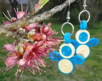 Unique blue and white fancy paper paperoll quilling paper quilled earrings