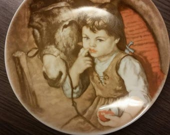 "Small ornamental plate ""girl with donkey"" Royal Schawap 1984 20 cm"